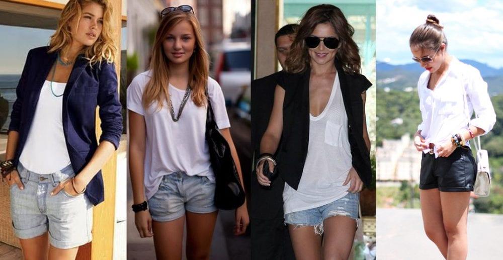 Combine camisetas brancas e shorts no Verão 2014