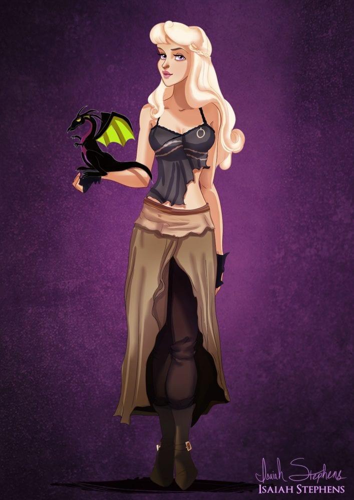 Princesa Aurora (Bela Adormecida) como Daenerys (Game of Thrones)