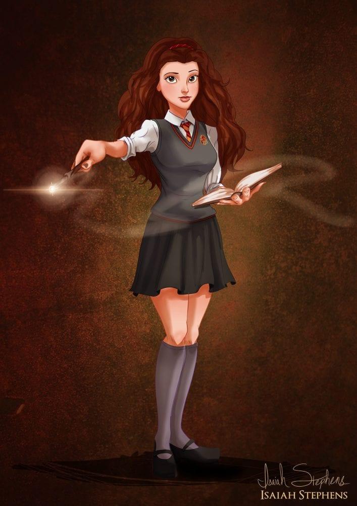 Halloween: Bela (A Bela e a Fera) fantasiada de Hermione (Harry Potter)
