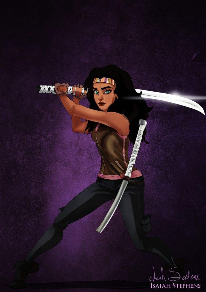 Halloween: Esmeralda (Corcunda de Notre Dame) fantasiada de Michonne (The Walking Dead)