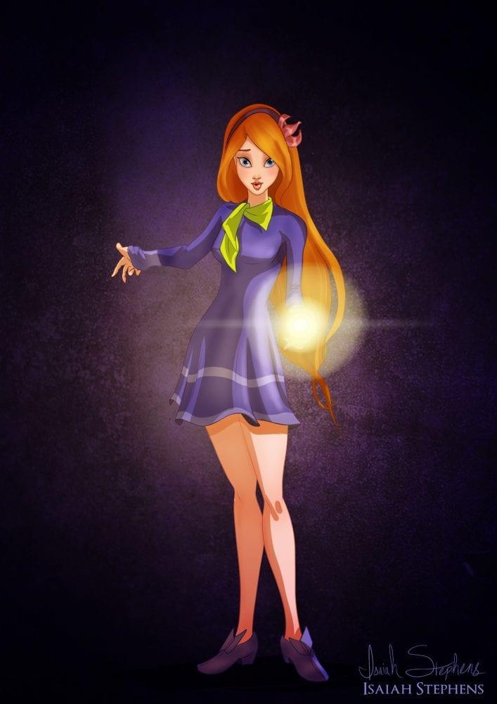 Halloween: Giselle (filme Encantada) fantasiada de Daphne (Scooby Doo)