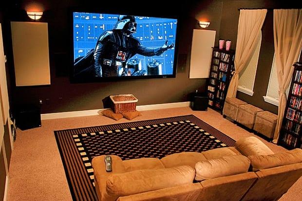 Sala De Tv Com Projetor ~ Sala de cinema em casa
