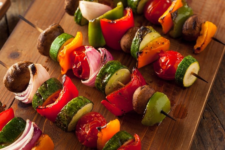 Organic Homemade Vegetable Shish Kababs with Peppers, Onions and Tomatos